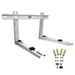 Folding mounting bracket with leveler for keeping your outdoor unit off of the ground